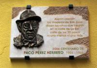Placa Paco Pérez Herrero, cofrade de Genarín